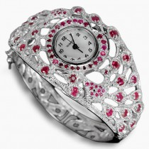 really authentic blood red ruby 925 sterling silver womens peacock bangle watch