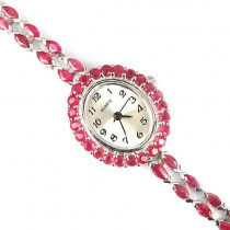 natural jewels blood red ruby 14k white gold 925 sterling silver wrist watch for women