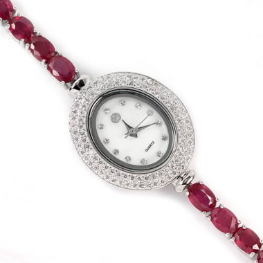 genuine bloody ruby & CZ 925 sterling silver 14k white gold jewellery ladies wrist watch