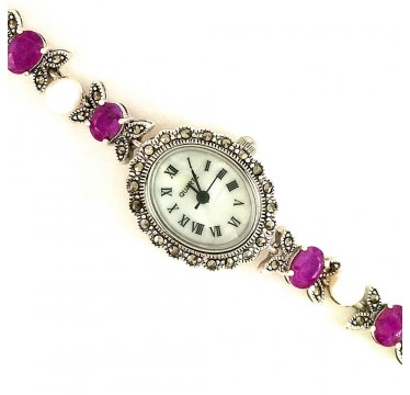 Graceful Vintage Style Silver Women's Watch with Ruby, Pearl & Marcasite