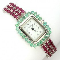 very rare rich red ruby & emerald womens silver watch