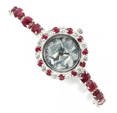 delightful natural deep red ruby & CZs 925 sterling silver ladies watch