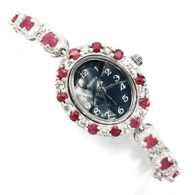 natural jewels rich red pink ruby & CZ 14k white gold 925 sterling silver womens wrist watch