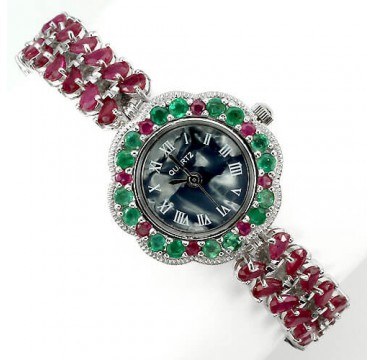 sublime natural ruby, emerald & mother of pearl 925 sterling silver jewelry womens watch