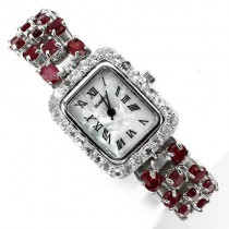 luxury jewellery watch for ladies 925 sterling silver 14k gold with genuine ruby & topaz