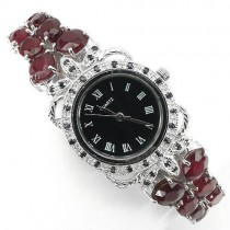 deluxe jewellery ladies 925 sterling silver watch with genuine blood ruby & sapphire
