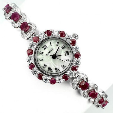 superior 925 sterling silver ladies wrist watch with natural red ruby & CZs
