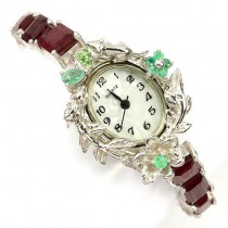 handmade 925 sterling silver ladies wrist watch with natural ruby, emerald & tsavorite garnet