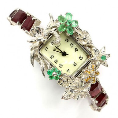 stunning handmade sterling silver wrist watch with natural ruby, emerald & sapphire