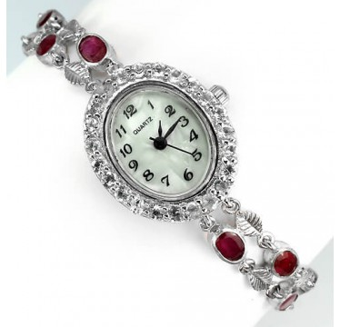 deluxe natural ruby & white topaz sterling silver 14k gold luxury womens wrist watch