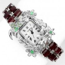 awesome handmade! natural ruby, emerald & tsavorite 925 silver womens watch