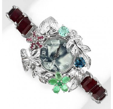 natural gems ruby, emerald & blue topaz fully handmade 925 silver womens wrist watch