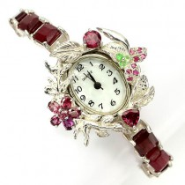fully handmade ladies jewellery wrist watch 925 silver with ruby & garnet