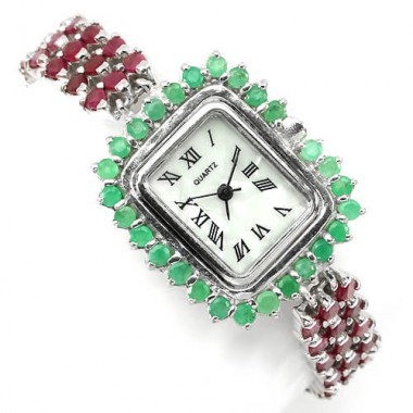 high quality genuine ruby & emerald gems 925 silver womens wrist watch