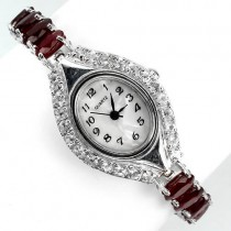 really authentic blood ruby & white topaz sterling silver luxury womens wrist watch