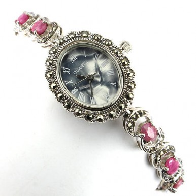 authentic jewels pink ruby & marcasite 925 sterling silver vintage style wrist watch for lady