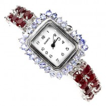 special jewelry watch of sterling silver with natural ruby & tanzanite for elegant lady