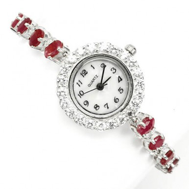 precious top rich red ruby sterling silver 925 women watch