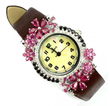 natural rich pink ruby, white & black CZs 925 sterling silver womens watch with leather band