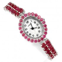 special natural red ruby jewels luxury 925 sterling silver 14k gold ladies wrist watch