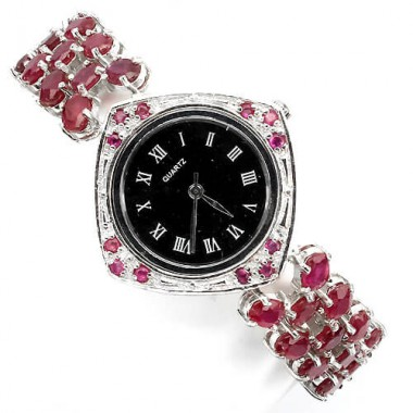 dazzling natural oval red ruby & mother of pearl 925 sterling silver watch for women