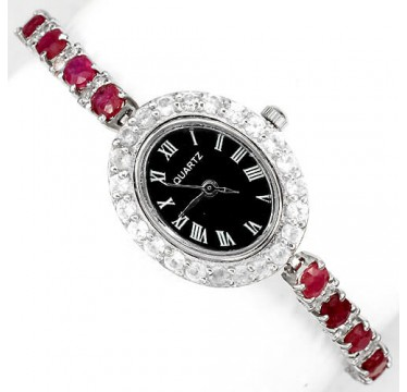 precious genuine pink red ruby & white topaz sterling silver wrist watch for lady