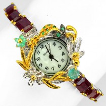 magnificent handmade jewelry womens watch sterling silver with genuine ruby & emerald