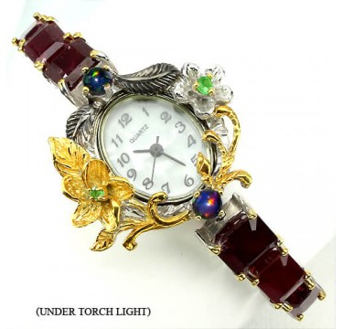 dainty fully handmade 925 sterling silver watch with natural ruby, opal & tsavorite for ladies