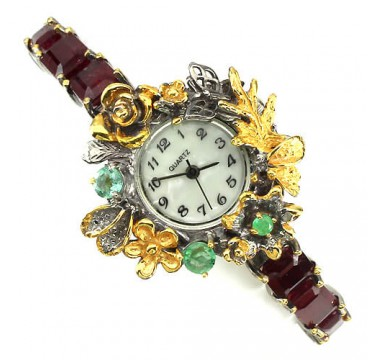 Exclusive Design Handmade Sterling Silver Watches for Women With Ruby & Emerald