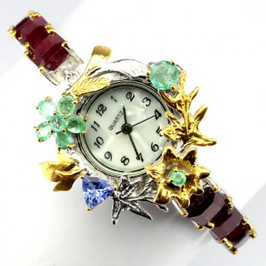 admirable jewelry sterling silver womens watch with ruby, emerald & tanzanite