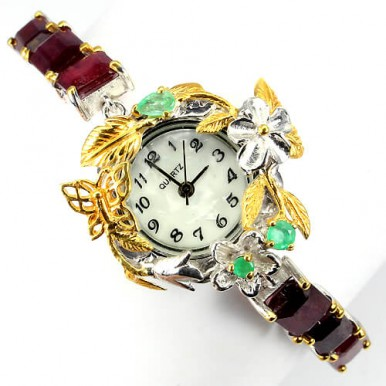 luxury handmade jewellery watch for ladies sterling silver with genuine ruby & emerald