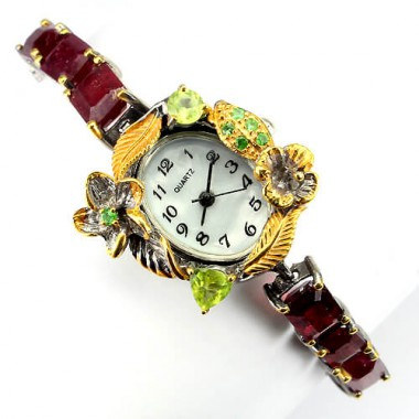 excellent handmade jewelry womens sterling silver watch with genuine ruby, tsavorite & peridot