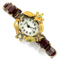 Exquisite handmade sterling silver ladies' watch with genuine ruby, emerald & tsavorite