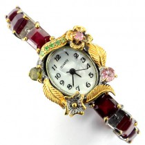 deluxe handmade silver jewelry ladies watch with genuine ruby, tourmaline & tsavorite garnet