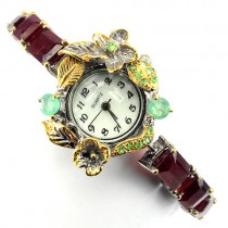 handmade luxury ladies sterling silver jewelry watch with ruby, emerald & tsavorite
