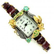 delicate handmade jewelry sterling silver womens watch with ruby, emerald & tsavorite