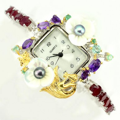 Fantastic Fully Handmade Jewelry Watch with Natural Ruby & Pearl