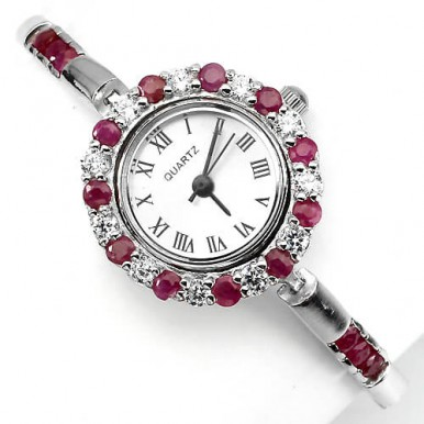 Elegant Sterling Silver Women's Wrist Watch with Genuine Red Ruby