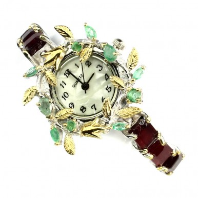 Glorious Women's Sterling Silver Handmade Watch With Ruby & Emerald