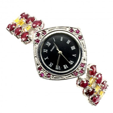 Natural Ruby & Yellow Sapphire Sterling Silver Watch for Women