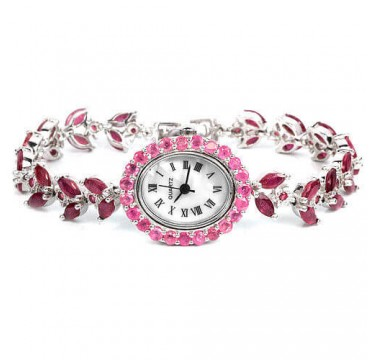 Natural Red & Pink African Ruby Sterling Silver Women's Wristwatch