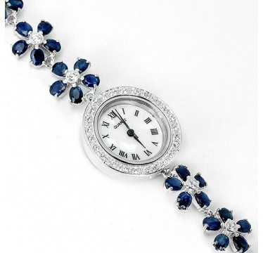 dazzling natural blue sapphire & CZ luxury 925 sterling silver 14k gold ladies watch
