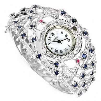 luxury peacock design womens 925 sterling silver bangle wrist watch with sapphire, ruby & CZ