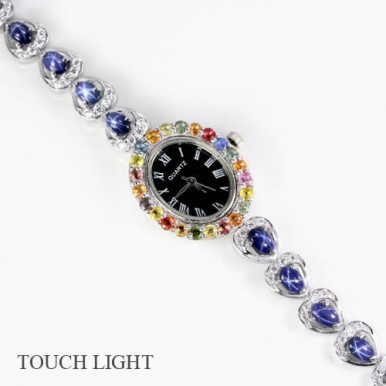rare genuine 6 rays star blue sapphire & CZ 925 sterling silver ladies wrist watch