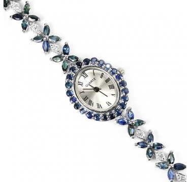delightful really natural blue sapphire & CZ sterling silver 14k white gold jewellery ladies watch