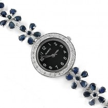 genuine blue sapphire & white CZs flower design 925 sterling silver ladies watch
