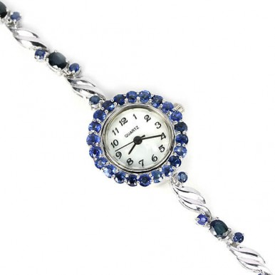 genuine AAA blue sapphire jewels high class luxury 925 sterling silver womens wrist watch