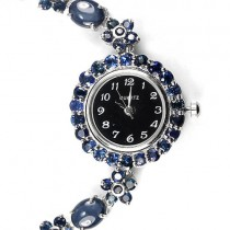 authentic 6 rays star blue sapphire 925 sterling silver flower watch for woman