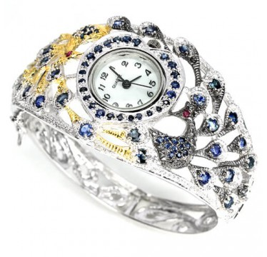 Adorable Sterling Silver Ladies' Peacock Design Bangle Watch with Sapphire & Ruby