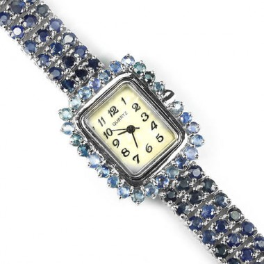 fantastic genuine blue sapphire 925 sterling silver womens wrist watch